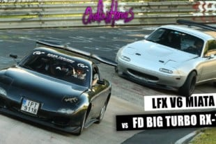Video: 400-HP RX-7 Dances With LFX V6-Powered Miata At The 'Ring!